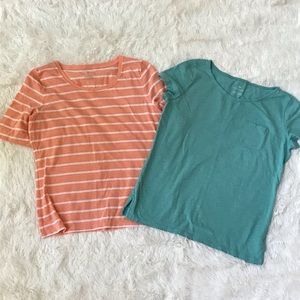Talbots Small T-shirt bundle orange and blue top